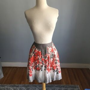 Club Monaco Floral Pleat Linen Blend Skirt